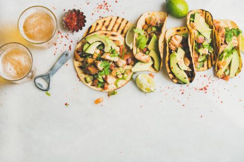 Mexican chicken and avocado tortillas